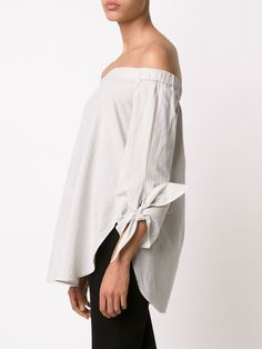 Tibi knotted sleeve off shoulder top Off Shoulder Tops, Blouse Designs, Knots, Saint Laurent, Bell Sleeve Top, Sleeves, How To Wear, Shopping, Women