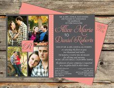 Monogram, Ribbon & Photo Wedding Invitation - A Printable Wedding Invitation Design. $30.00, via Etsy.