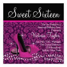 Hot Pink Black Damask High Heels Sweet 16 Party Custom Invitations