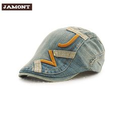 e7d86800e95 Embroidered Design Casual Outdoors Caps 2017 New Spring Summer Fashion Men  Berets Cotton Beret Cap Denim Hats for Men or Women