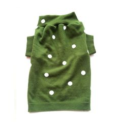 Small Green Polka Dot Designer Dog Sweater