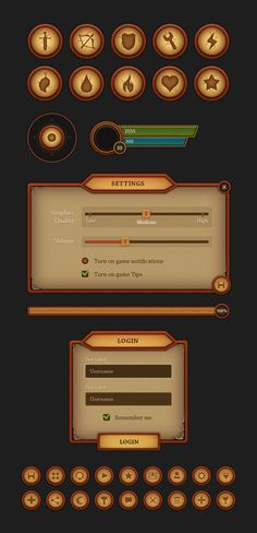 Fantasy Mobile UI - Designed for the needs of mobile game developers, this interface is vector and all the elements can me scaled up, depending on the deve