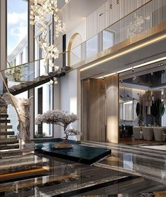 Home Stairs Design, Home Room Design, Dream Home Design, Modern House Design, Dream House Interior, Luxury Homes Dream Houses, Modern Mansion Interior, Luxury Interior Design, Modern Entryway