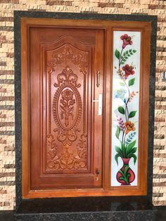 Indian Main Door Designs, Single Main Door Designs, House Main Door Design, Wooden Front Door Design, Main Entrance Door Design, Pooja Room Door Design, Door Design Interior, Wooden Front Doors, Window Glass Design