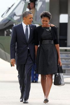 September 11, 2011 Where: With President Barack Obama arriving in New York City to commemorate the tenth anniversary of 9/11. Photo:Mandel Ngan/AFP/Getty Images The Michelle Obama Look Book - The Cut