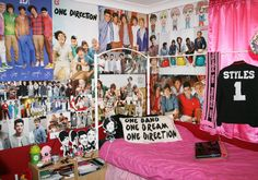"""Fan wall! """"Talking Trash & Wasting Time: One Direction Teen bedroom    DIY word 1D pillowcase, handmade plush dolls of the boys & Harry Styles blazer... """"  my room almost looks like this..."""