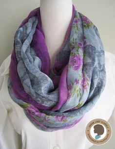 Flowers and bow, blue and purple, Soft, Lightweight, Long, Rectangle, Loop Scarf, Infinity Scarf for Spring and Fall by UrbanLadyScarves on Etsy https://www.etsy.com/listing/232957039/flowers-and-bow-blue-and-purple-soft
