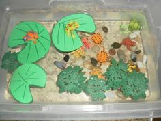 Making our own Pond sensory bin- M would be all over this if it had fish in it