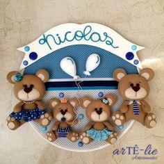 Bastidor Tema Familia Urso #feltro #felt #bastidor #handmade #bear #ursos #cute…