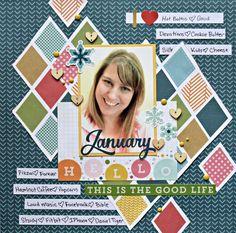 January About Me Layout by Christine Meyer - Scrapbook.com