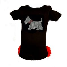 Christmas Scottie Dog Black Infant Bodysuit with Red Ruffles (Enter code: CYBER for 50% OFF!)