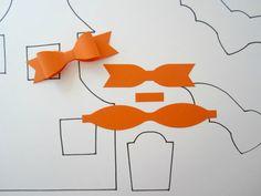 Halloween Decor - Set of 5 Orange Paper Bows