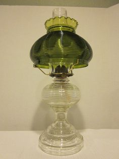 Antique Beehive Pattern Glass Oil Lamp Green Art Glass Shade P A Eagle Burner | eBay