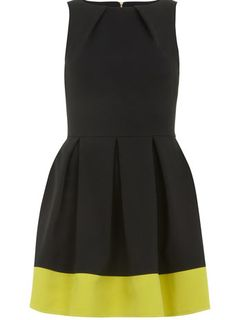 Lime contrast hem dress