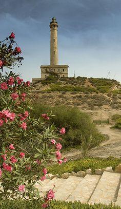 The Capo De Palos lighthouse at La Manga Mar Menor, Murcia, Spain