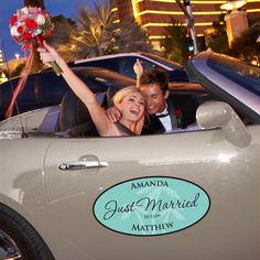 Large Personalized Wedding Window Cling for your Car | #exclusivelyweddings | #turquoisewedding