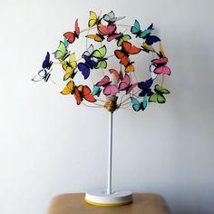 """Lámparas de mesa - Lampara con mariposas de papel """"Tutti fruti 3"""" - hecho a mano por Marcela-Delacroix en DaWanda"""