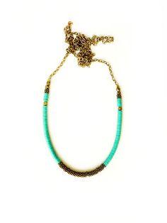 Green brass necklace by KimDulaney on Etsy, $39.00