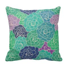 Blue Green And Purple Abstract Floral Pattern Throw Pillows www.prettythrowpillows.com