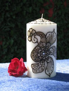 Decorative Pillar Henna Candle from www.etsy.com