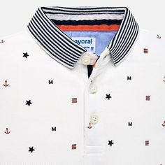 Short sleeved polo shirt with mini-pattern for baby boy White - Mayoral Baby Boy Polo Shirts Short Sleeve Polo Shirts, Tee Shirts, T Shart, Polo Shirt Design, Camisa Polo, Mens Tees, Kids Fashion, Shirt Designs, Summer Outfits