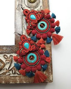 One of my favourite patterns this time in my favourite autumn colors:) Soutache Earrings, Bead Earrings, Rhinestone Converse, Beautiful Earrings, Foto E Video, Earrings Handmade, Jewlery, Instagram, Beads