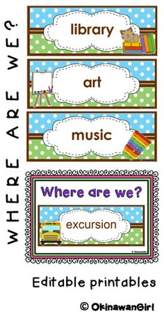 """Let everyone know where your class is with this stylish """"Where are we?"""" door display.   All of the location cards have editable text boxes. You can therefore rename the locations to suit your class (e.g. change """"technology"""" to """"ICT"""") as well as change the font to your own particular preference.   Furthermore templates without clipart are included to allow you to add your own locations (with clipart) if necessary. $"""