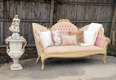Rent My Dust Vintage Lounge Area's for Your Wedding! - Blog - RENT MY DUST Vintage Rentals.  This is for the pink bride or Shabby Chic Bride featuring our pink Priscilla Sofa