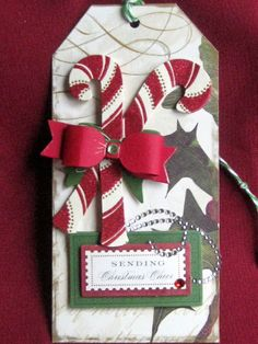 Candycane tag by ChaosMom - Cards and Paper Crafts at Splitcoaststampers Christmas Paper Crafts, Christmas Gift Tags, Xmas Cards, Holiday Cards, Handmade Tags, Paper Tags, Card Tags, Gift Wrap, Candy Cane
