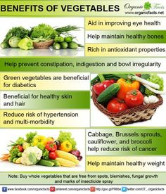 Health benefits of vegetables usually show in long run by improving your overall health and keeping the internal system in perfect condition. Consumption of vegetables takes care of your digestive system, excretory system, skeletal system (bones), blood pressure levels etc. With a diet rich in vegetables you are being benefitted with abundant antioxidants that keep away diseases like cancer, cardiovascular problems and stroke.