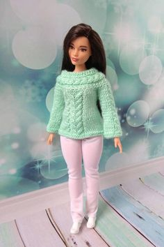 Curvy Barbie doll clothes. Hand-knitted light green sweater and white pants for Barbie girl with curvy body size  #barbie #barbieclothes #barbiedoll #barbiedolls #barbiesweater