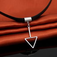 Couro preto PSXL043 NecklacesTriangle Chocker Colar Gargantilha para As Mulheres Presentes Do Partido