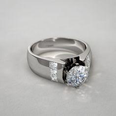 6 Princess Cut Sidestone Diamond Ring in 14k White Gold