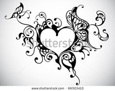 vector heart frame with butterfly