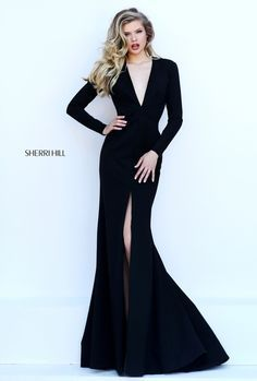 Sherri Hill Long-Sleeved Black Dress V-Cut Neckline and Open Back. Item#50309