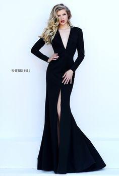 Sherri Hill Long-Sleeved Black Dress V-Cut Neckline and Open Back. Item#50309
