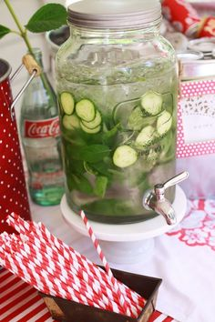 Water with cucumber slices and mint leaves