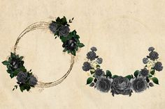 Black and Gold Wreaths Clipart These lovely black and gold flower wreaths are perfect for holiday parties, wedding props, shower invitations, scrapbooking or Gold Wreath, Floral Hoops, Floral Wreaths, Wedding Props, Gold Flowers, Shower Invitations, Holiday Parties, Graphic Illustration, Behance