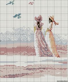 The cries of seagulls - embroider PEOPLE - cross stitch - File Catalog - CHAROVNITSA - a site for and about women Cross Stitch Pillow, Stitch Book, Cross Stitch Pictures, Cross Stitch Heart, Beaded Cross Stitch, Cross Stitch Embroidery, Embroidery Patterns, Cross Stitch Designs, Cross Stitch Patterns