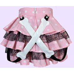 Pastel goth creepy cute honenuki BONES bondage strap RARA SKIRT ($54) ❤ liked on Polyvore featuring skirts, high-waist skirt, netted skirt, high-waisted skirts, net skirt and gothic skirts
