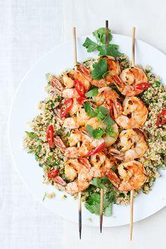 citrus chili grilled shrimp with herbed couscous shrimp
