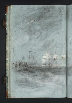 "Joseph Mallord William Turner 'Study for 'Ships Bearing up for Anchorage (""The Egremont Seapiece"")'', c.1799–1802 - Chalk on paper -  Dimensions Support: 436 x 271 mm -  Collection -  Tate"