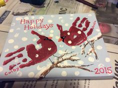 23 Cute and Fun Handprint and Footprint Crafts for Kids - Handprint art - Xmas Crafts, Baby Crafts, Toddler Crafts, Diy Christmas Gifts, Christmas Projects, Preschool Crafts, Fun Crafts, Christmas Car, Paper Crafts