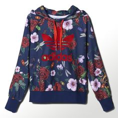 For her design collaboration with adidas Originals, British pop star and style icon Rita Ora was inspired by her own romantic sensibility, her love of baroque art and the splendid rose gardens of Versailles palace. This women's French terry hoodie showcases a Trefoil against a lush background of ornate blooms, dragonflies and gilded flourishes.