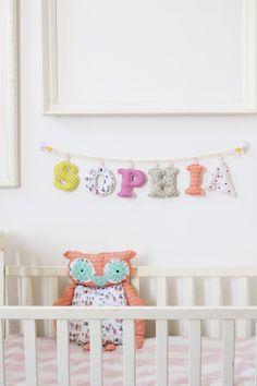 Made To Order - Baby Girl Name wall Decor - 6 letter girl's room name banner. $60.00, via Etsy.