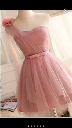 Simple One Shoulder Homecoming Dresses,Pink Tulle Short Party Dresses,Short Bridesmaid - Prom Dresses Design Tulle Bridesmaid Dress, Short Bridesmaid Dresses, Homecoming Dresses, Short Dresses, Dress Prom, Dress Wedding, Pink Dress, Pink Tulle, Pink Party Dresses