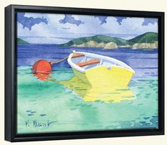 30.00-8 X 10 PB-Yellow Rowboat   -Canvas Art Print