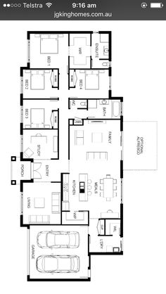 Expand the family and the meal area to the right to create larger family room and a breakfast area. 4 Bedroom House Plans, Dream House Plans, Small House Plans, House Floor Plans, Dream Home Design, Home Design Plans, My Dream Home, House Design, Building Plans