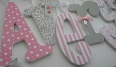 Pink and Grey Nursery Decor -Single letter -Baby Girl Wooden Letters for Nursery-avail in any size or font in this shop Baby Girl Nursery Decor, Baby Decor, Nursery Room, Nursery Ideas, Room Ideas, Bedroom, Pink And Gray Nursery, Pink Grey, Purple