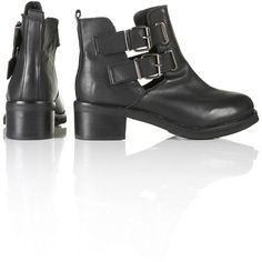 TOPSHOP ADONIS2 Cut Out Heavy BLACK Ankle Boots UK 6 EU 39 CELEBRITY... ❤ liked on Polyvore